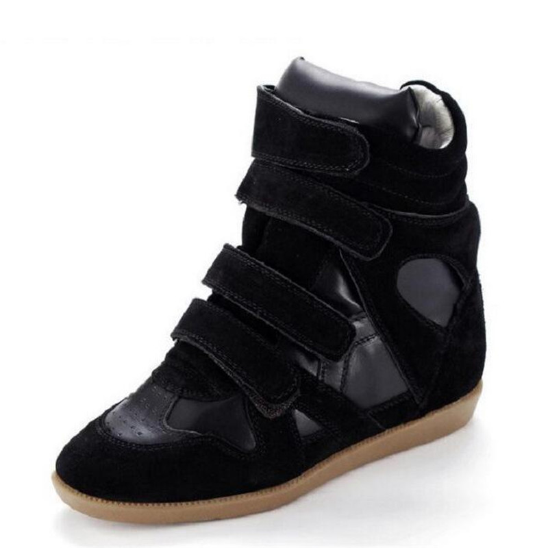 Brand Women wedges shoes Fashion Genuine Leather height increasing Casual women shoes Breathable hook shoes for ladies