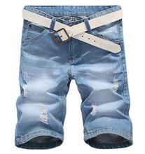 summer 2016 New Light Blue Men's Denim Shorts Cowboys Cotton Straight Hole Ripped Jeans Loose Baggy Denim Jeans 28-38