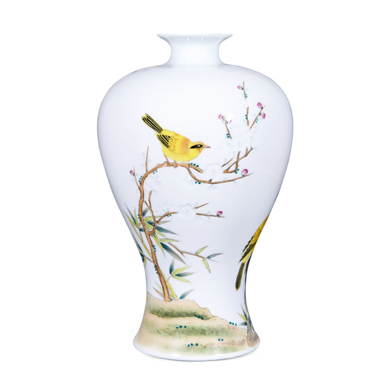 Jingdezhen Hand Painted Sculpture Yellow Bird Fine Porcelain Flower Vase For Home Office DecorJingdezhen Hand Painted Sculpture Yellow Bird Fine Porcelain Flower Vase For Home Office Decor