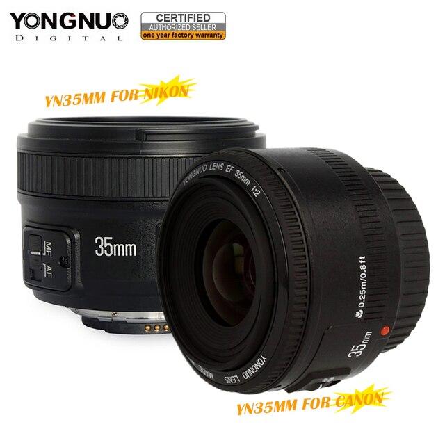 Estoque pronto! Original YONGNUO 35mm f2 YN35mm Grande Abertura Da Lente de Foco Automático lente para Canon EOS 5D Mark III 60D 450D 7DII 6D