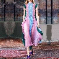 Brand High Quality New Fashion 2017 Runway Dress Chiffon Ruffles Patchwork Women S Sleeveless Draped Mid