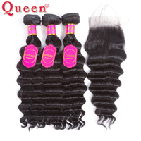 Queen Hair Products Loose Deep More Wave Brazilian Hair Weave Bundles Human Hair Bundles With Closure