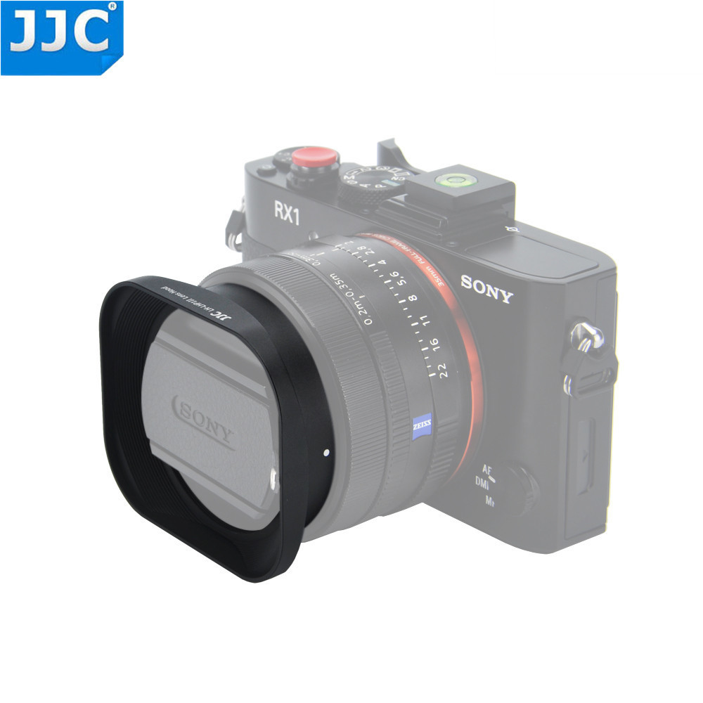 JJC Metal Square Lens Hood with 49mm Filter Screw Thread for Sony DSC-RX1 DSC-RX1R DSC-RX1RII SEL50F18 Lens Replace SONY LHP-1 sony dsc rx100m2