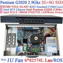Intel Pentium G2020 2.9 Г 1U Брандмауэр Маршрутизатор с 6*1000 М 82583 В Lan PFSense Wayos ROS 2 Г БАРАН 8 Г SSD