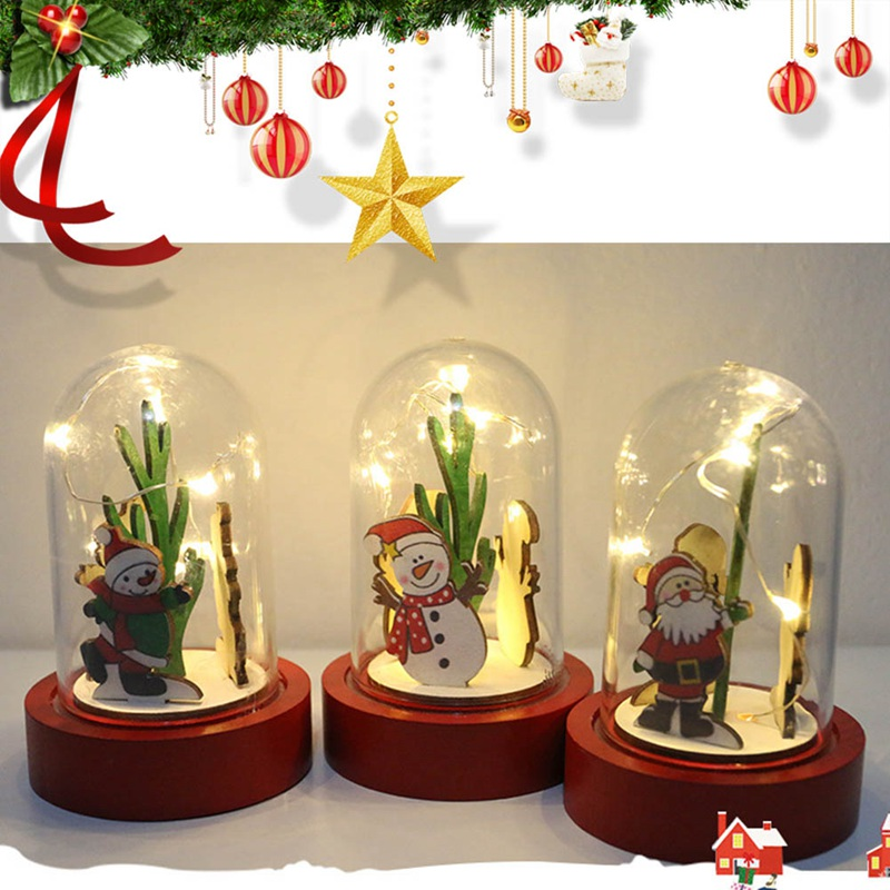 Christmas Decorations Wooden Lights Transparent Plastic