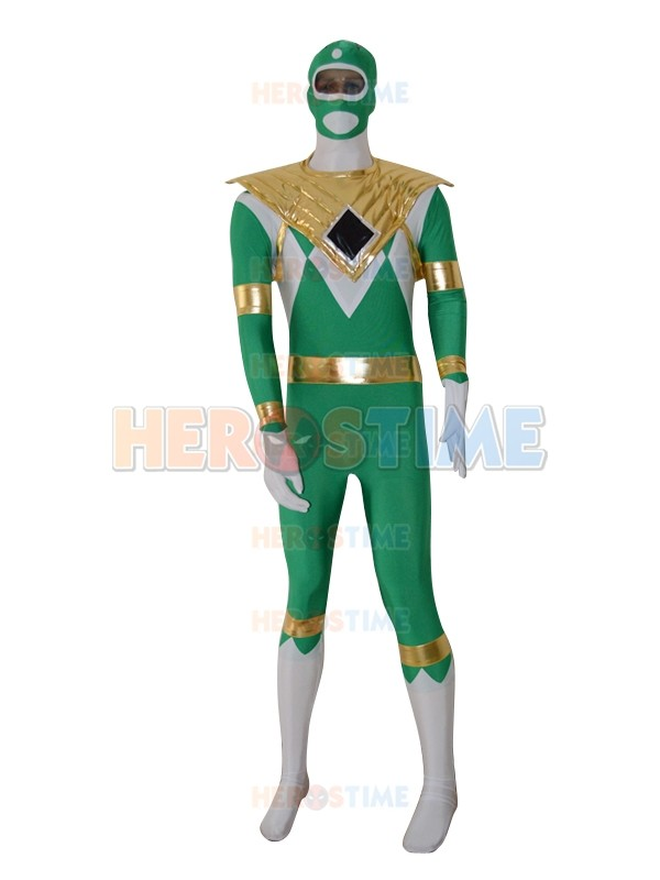 Free Shipping Lycra Green Dragon Ranger Spandex Full Body Suit Dark Green and White Kyoryu Sentai Zyuranger Costume
