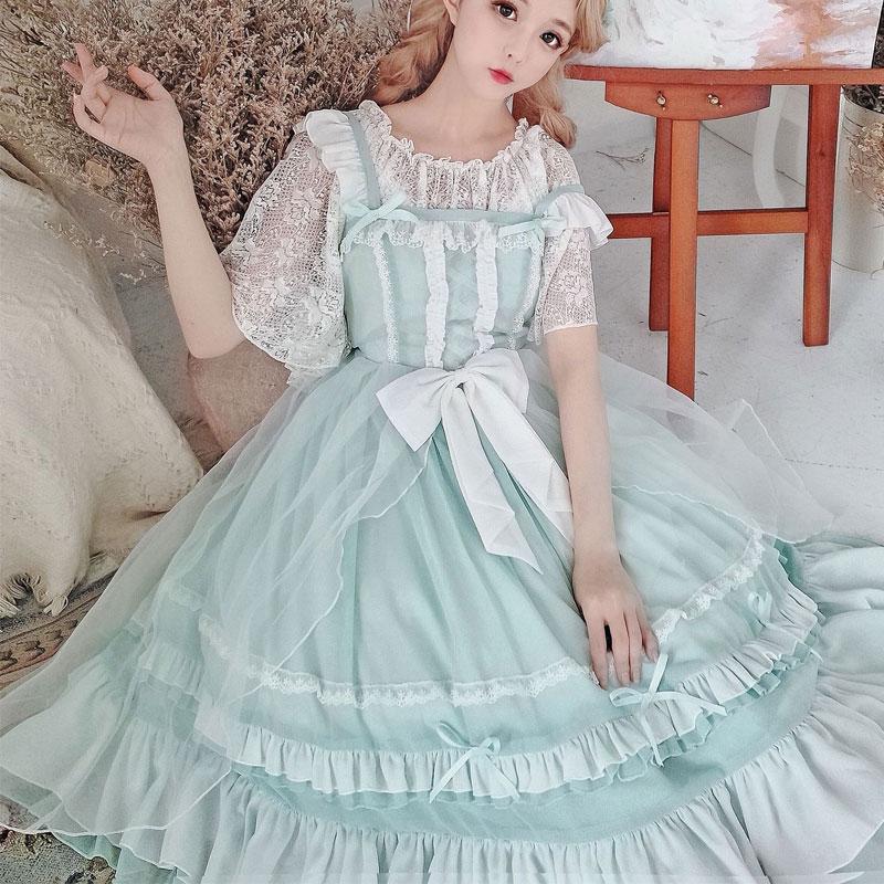 Panna Pei ~ słodka Lolita JSK sukienka klasyczna szyfonowa sukienka na imprezę na lato w Suknie od Odzież damska na  Grupa 3