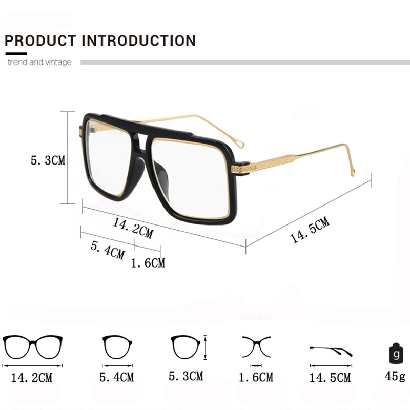 f78901a2fd Square Flat Top Glasses Frame Famous Brand Designer Glasses Men 18K Gold  Metal Frame Mirror Clear Glasses Lentes Opticos Mujer-in Eyewear Frames  from ...