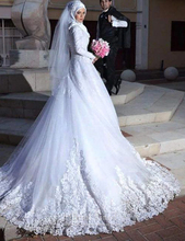 Eternal Moment Long Sleeve Muslim Wedding Dress A Line Hijab Arabic Wedding Gown Bride Dress abiti da sposa