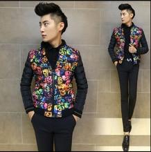 Горячая 2015 новых людей осень и зима толще корейских тонкий короткие куртки череп молодых мужчин куртки хлопок-проложенный сращивания хлопка пальто прилив