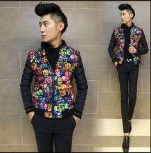 HOT 2015 new Men s autumn and winter thicker Korean Slim short jackets skull young men