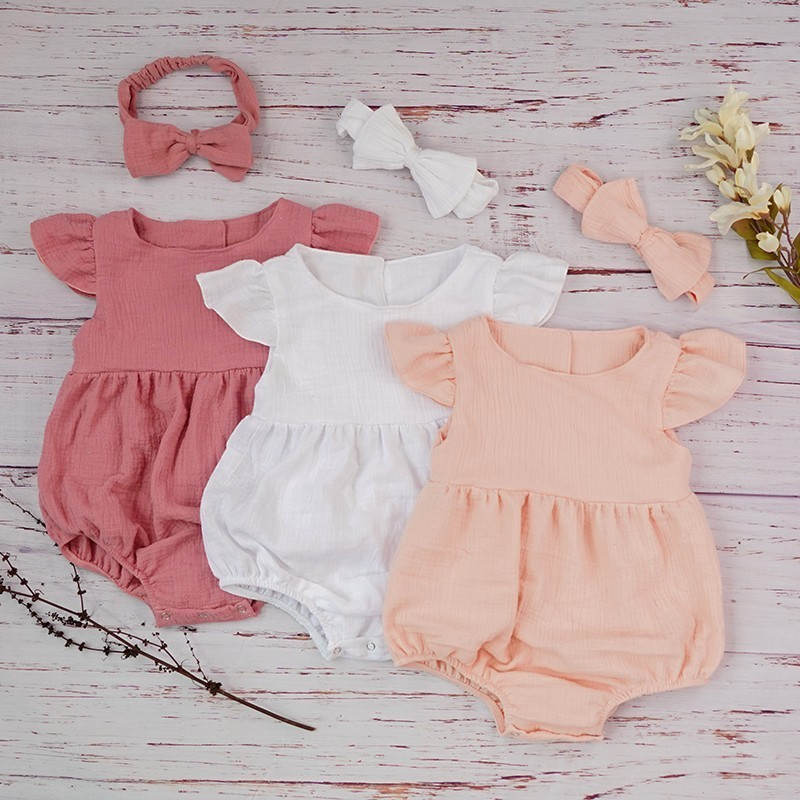 New Cotton Baby Girl Overalls Double Gauze Ruffle Sleeve   Romper   Jumpsuits For Newborns Cute White Baby Toddlers Infant Roupas