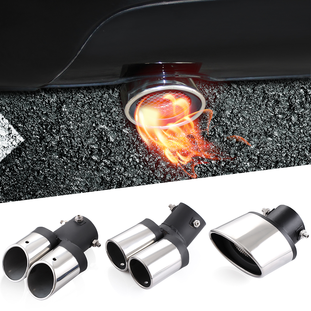 Universal car auto exhaust muffler tip stainless steel pipe chrome trim modified car rear tail throat