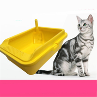 Rác Hộp Mèo Lớn Nhà Vệ Sinh Kèm Theo Xẻng Đóng Khay Nhựa Pets Dog Cat Hộp Nhà Vệ Sinh Rác Cát Bô Dẹt Lưu Vực WC Nip DDM2398