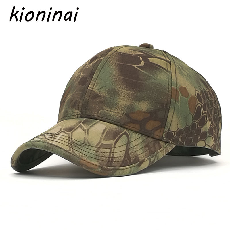Kioninai Camouflage Baseball Cap Outdoor Army Green Snapback Caps Men Cotton Sport Hat For Men Gorras Hombre Bone Casquette high quality plain dyed sand washed 100% soft cotton cap sport hat gorras snapback cap outdoor sun hat for women caps