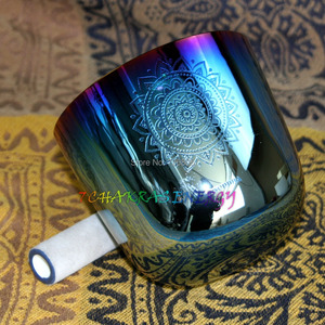 """Image 1 - 4th octave G Throat chakras carved design alchemy crystal singing bowl about 5.5"""""""