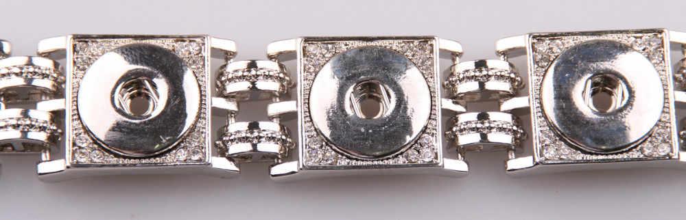 Бесплатная доставка Горячая продажа Высокое качество 5 горный хрусталь кристалл металлическая нажимная кнопка браслет браслеты из металлического сплава для 1,8-2 см