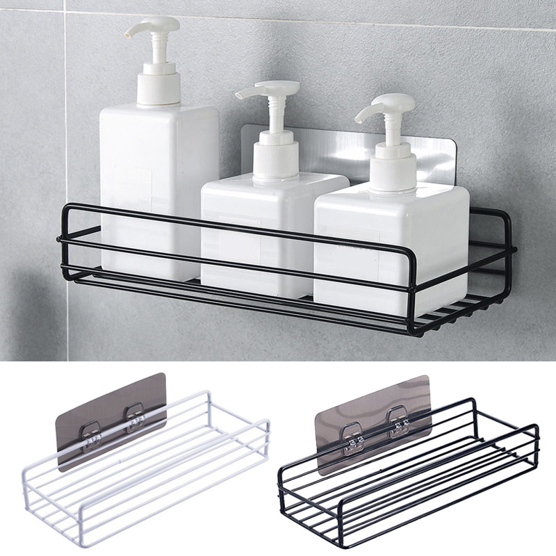 Iron Kitchen Bathroom Shower Shelf Storage Suction Basket Caddy Rack Mensola Del Bagno Kitchen Bedroom Bathroom HTQ99