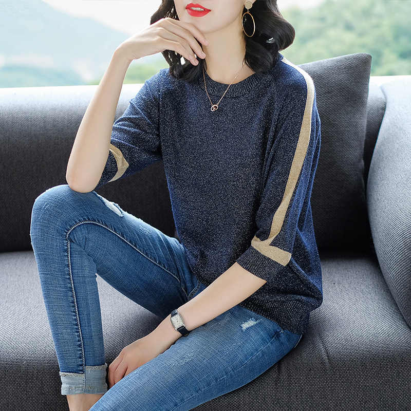 YISU тонкий свитер женский пуловер с коротким рукавом женские модные яркие шелковые свитера женские 2019 весенние вязанные свитера Топы Femme