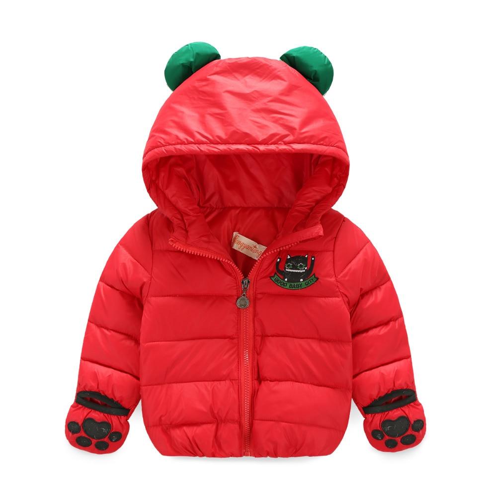 Perakende 2016 yeni kış kırmızı şerit eldiven bebek kız ceket 90% yazma ördek aşağı ceket dış giyim Unisex Sevimli Kapşonlu sıcak ceket