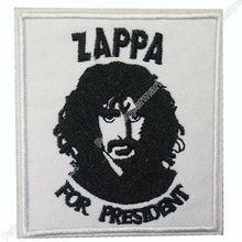 "3 ""zappa para o presidente frank zappa música rock banda logotipo bordado ferro no remendo applique boné chapéu metal pesado"