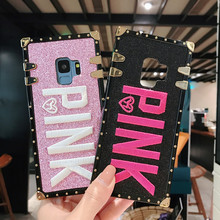 Luxury Embroidery 3D Pink Letter Phone Case For Samsung S9 S8 S10 Plus Note 8 9 Bling Sparkle Glitter Metal Rivet Square Cover
