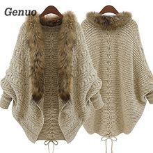 Genuo модное женское пальто с воротником из искусственного меха с рукавом летучая мышь, Свободный Повседневный теплый кардиган, шаль, свитер, осенне-зимний Топ для женщин