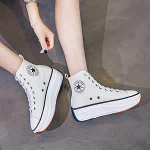 Image 3 - Canvas Shoes Women Fashion Trainers Women High Top Sneaker Lady Autumn Female Footwear Breathable Girl White Black Sneakers