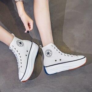 Image 3 - Kanvas ayakkabılar kadın moda eğitmenler kadınlar yüksek Top Sneaker bayan sonbahar kadın ayakkabı nefes kız beyaz siyah Sneakers