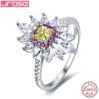 Jrose Flower Style Green Amethyst 925 Sterling Silver Promise Wedding Ring 4 85 Carats Love Engagement