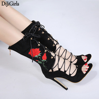 Sexy Rope Sandals Strappy High Heel Gladiator Sandals Women Lace Up Ankle Strap Shoes Summer Embroidered