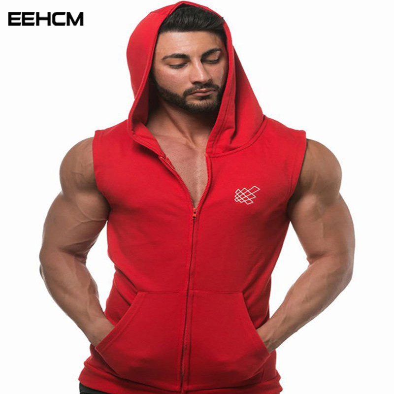 EEHCM Casual   Tank     top   men 2018 new cotton hooded geometric pattern printing fashion bodybuilding   tank     top   gyms men hooded vest