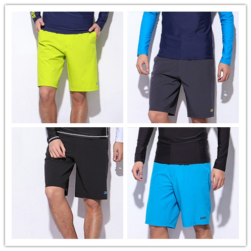 2017 mens yellow straight fifth beach pants male loose quick-dry black swim trunks blue surf shorts bathing suit bottoms