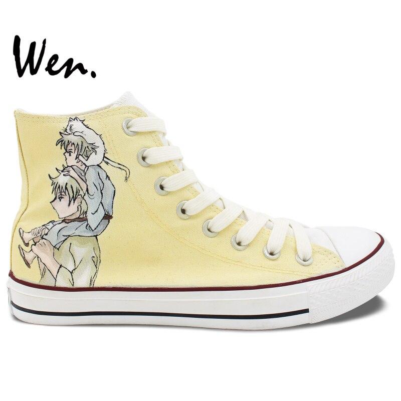 ФОТО Wen Light Yellow Anime Hand Painted Shoes Custom Design Gintama Sakata Gintoki Casual Shoes Women Men's High Top Canvas Shoes
