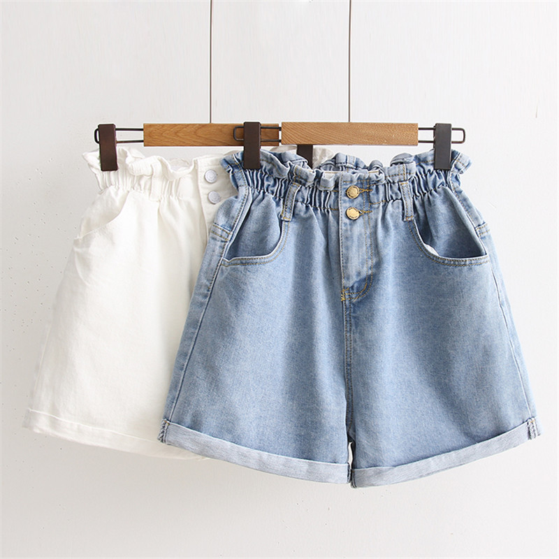 2018 Summer Casual Women Jeans Shorts Korean Preppy High Waist Plus Size Blue Denim Shorts Harajuku Edge Curl White Hot Shorts