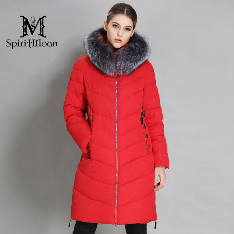 SpiritMoon 2018 Winter Women Thickening Bio Down Jacket Hooded Coat Women   Parka   Long With Natural Fur Collar Plus Size 5XL 6XL