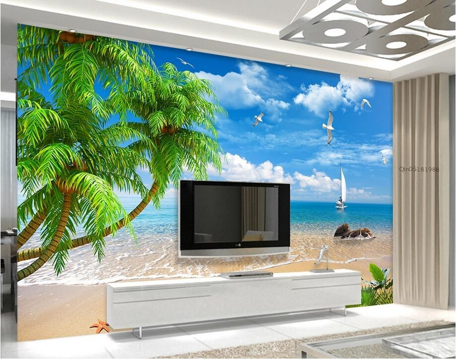 Custom photo 3d wallpaper Non-woven mural Sailboat on the seashore decoration painting 3d wall murals wallpaper for walls 3 d custom baby wallpaper snow white and the seven dwarfs bedroom for the children s room mural backdrop stereoscopic 3d