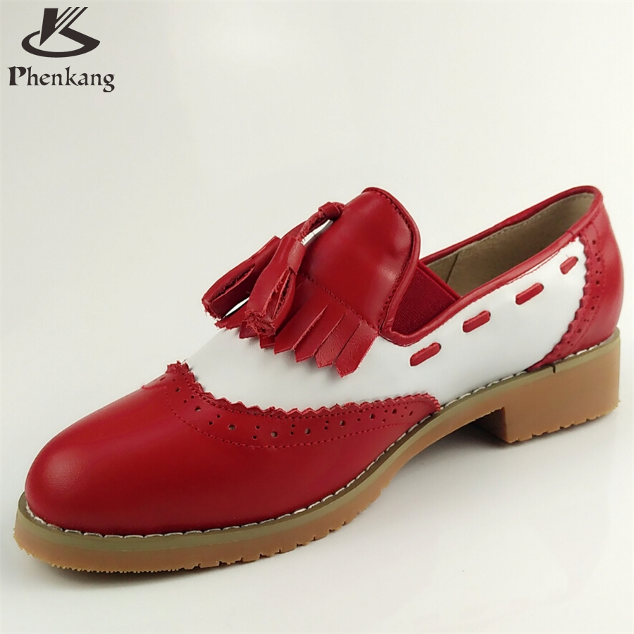 ФОТО Genuine leather big woman US size 9 designer vintage shoes round toe handmade red white oxford shoes for women with fur
