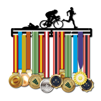 Triathlon medal hanger Sport medal display hanger for Triathlon Swimm,Bike,Run Metal medal holder hold 30+medals