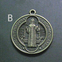 d9221960573 Catholic religious Gifts st saint benedict medal holy zinc alloy necklace  Charm Jesus cross Pendant gold bronze plated Charms-in Charms from Jewelry  ...