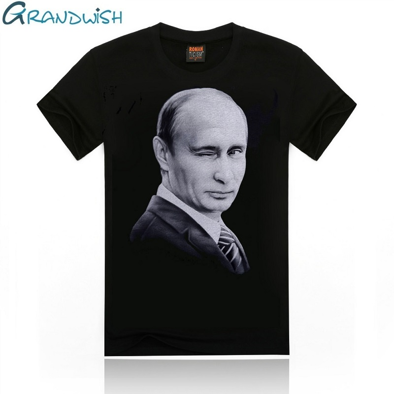 Grandwish Vladimir Putin T Shirts Men Character Printed Men's T Shirt O-Neck Russia President Putin T-Shirt for Male , PA658