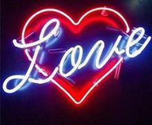 Sinal de luz de néon de vidro de amor personalizado