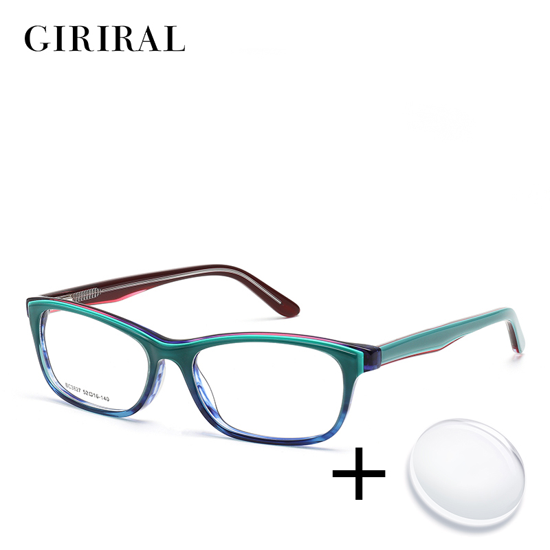 Acetate Women Prescription Glasses Vintage Myopia Reading Computer Colored Transparent Sight Optical Clear Eyeglasses #BC3827