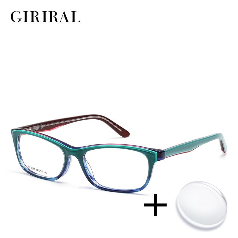 Acetate Women Prescription Glasses Vintage Myopia Reading Computer Colored Transparent Sight Optical Clear Eyeglasses #BC3827