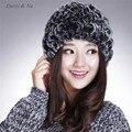 Daisy & Na Winter Women Knitted Nature Rex Rabbit Fur Hat Rabbit Fur Cap Real Fur Headgear 001
