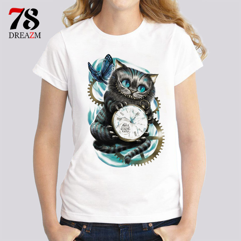 Cheshire cat t-shirt femminile carino divertente T Shirt Nuovo Stile di Estate Moda Manica Corta T-Shirt Donna t-shirt Tees Bianco