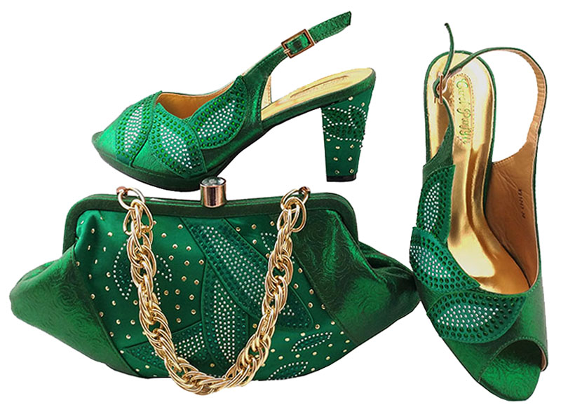 New Style Women Shoe and Bag Set High Quality Italian Shoe and Bag Set Decorated with Rhinestone African Shoes And Bag MM1043 rhinestone decorated shoulder bag