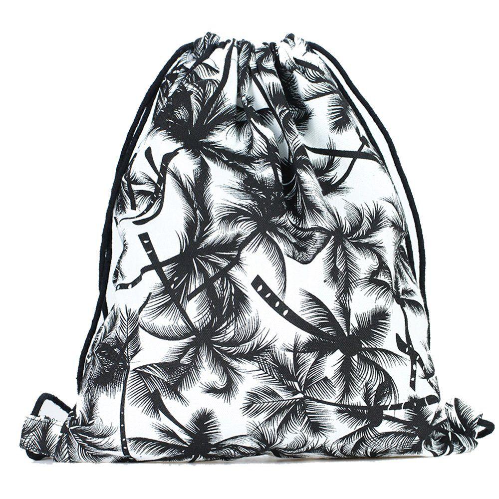 Palm Trees Print Drawstring Bag