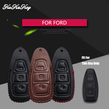 Фотография KUKAKEY Genuine Leather Remote Keyless Car Key Case Cover For Ford Focus 2 Fiesta Hatch Ranger Escape Fusion Kuga 4S Shop Gift