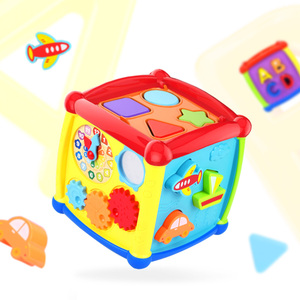 Image 2 - Çok fonksiyonlu müzikli oyuncak yürümeye başlayan bebek kutusu müzik piyano etkinlik küp geometrik blokları sıralama eğitici oyuncaklar 24 ay